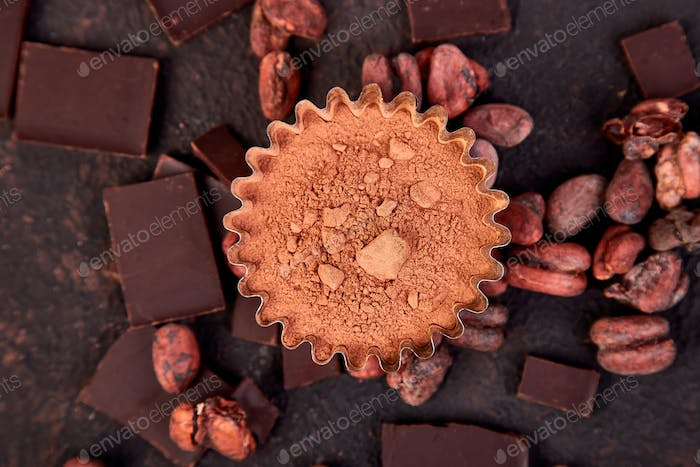 Cocoa beans background.
