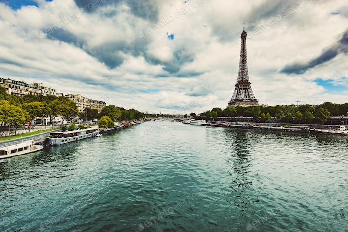 Eiffel Tower and Seine River in Paris