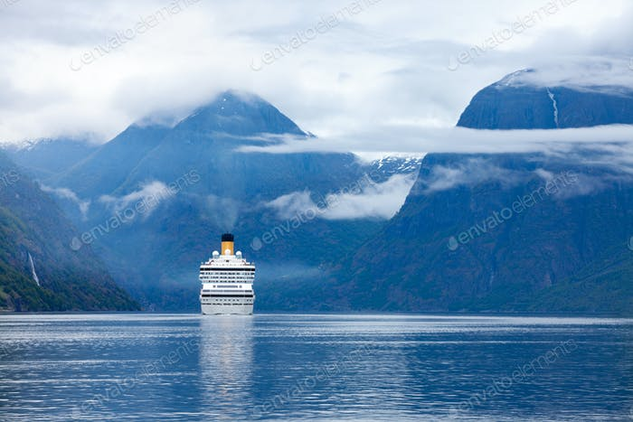 Cruise Liners On Hardanger fjorden
