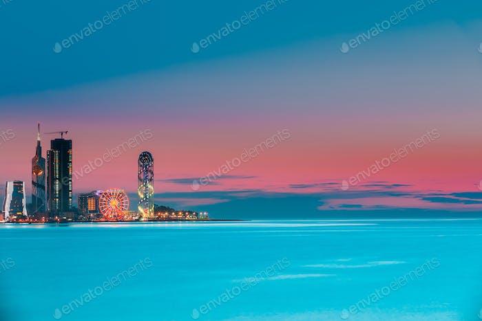 Batumi, Adjara, Georgia. Colorful Bright Evening Sky Over Resort