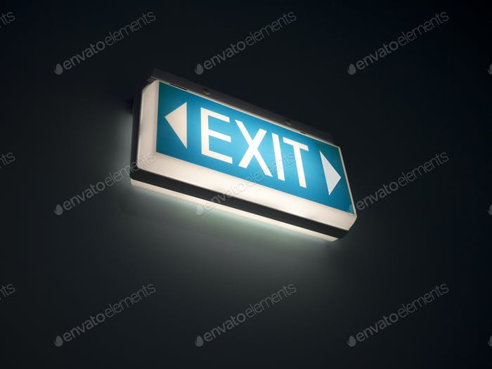 glowing exit sign
