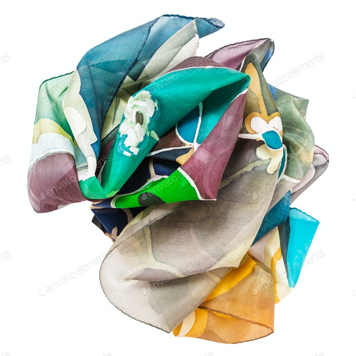 crumpled hand painted batik silk scarf isolated