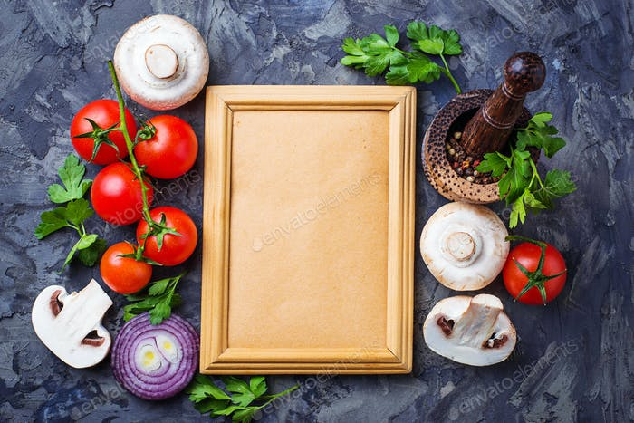 Mushrooms,  tomatoes, onion  and frame for text