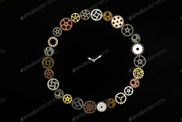 Simple clock made out of little cogwheels.