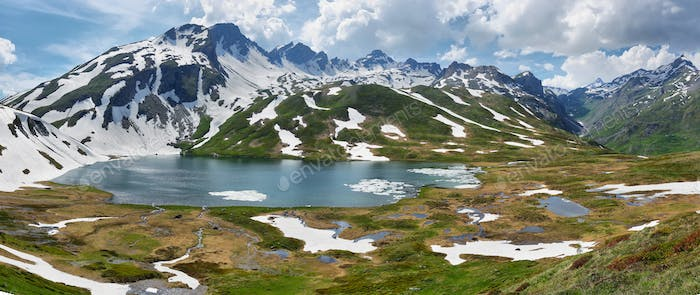 Scenic Alps and Verney Lake on The Little St Bernard Pass, Italy