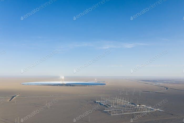 solar thermal power station and transformer substation on desert