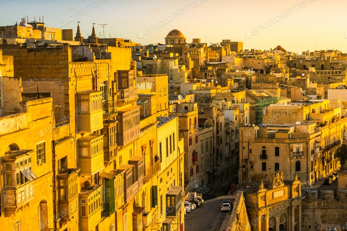 Sunrise over Valletta houses,Malta