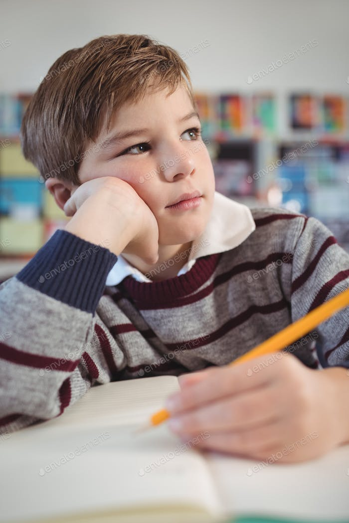 Thoughtful schoolboy studing while sitting at desk