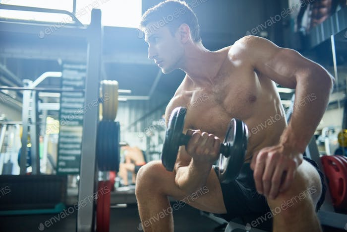 Handsome Man Pumping Arm Muscles in Gym