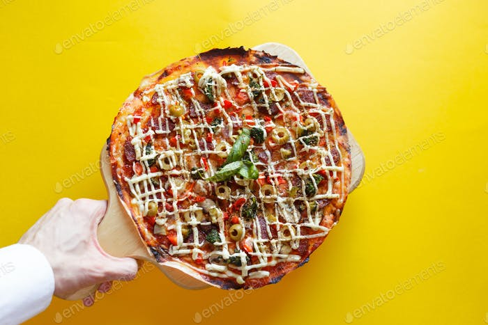 top view of pizza isolated and clipping path