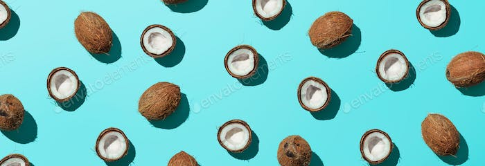 Coconuts half on blue background, banner