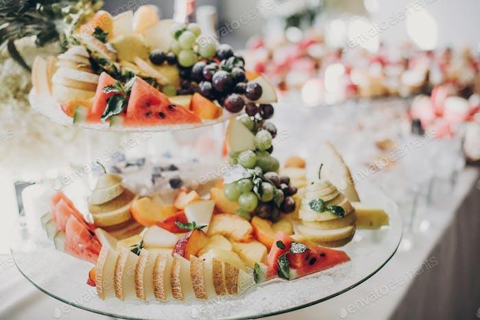 Delicious italian food table at wedding reception