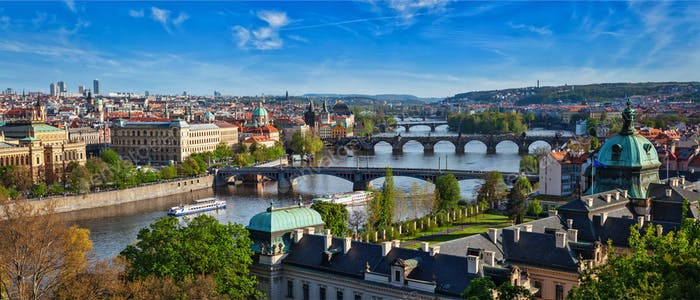 Panoramic view of Prague bridges over Vltava river from Letni P