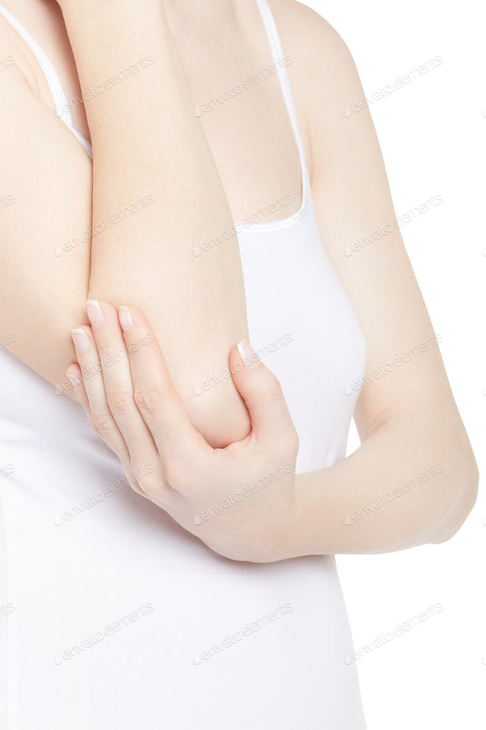 Young woman torso with hand holding elbow in pain isolated on wh
