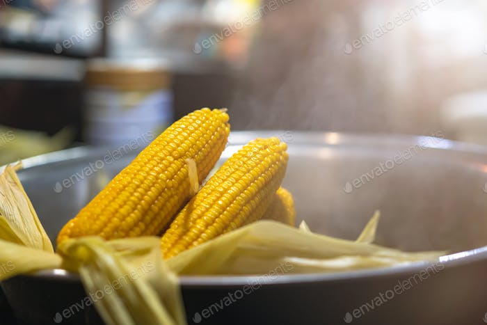 Steamed corn on the market in China