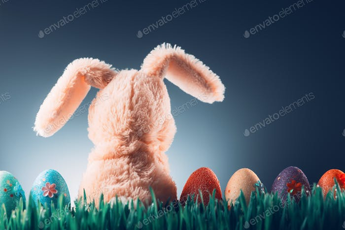Easter background concept with bunny toy