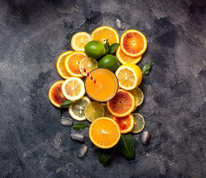 Citrus Juice and Sliced Citrus Fruits