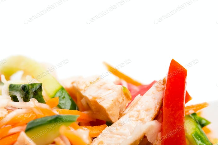 Eastern chicken salad with grated carrot.