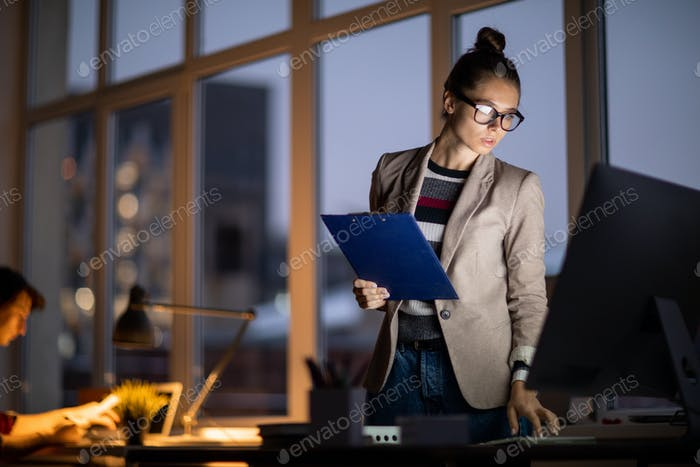 Woman by computer