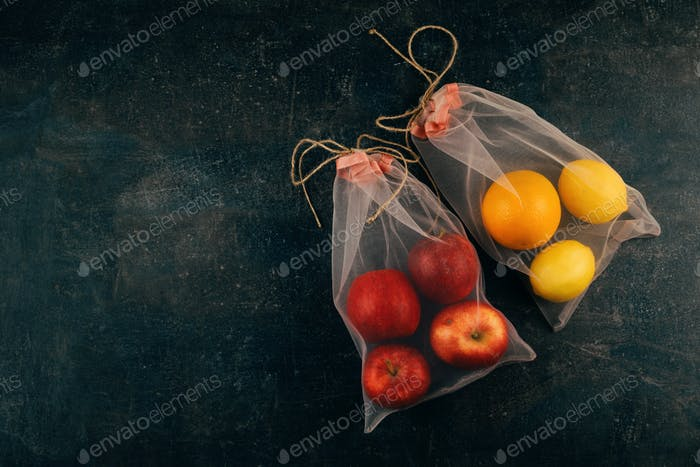 Two Reusable Mesh Organza Tulle Bags, eco friendly package for grocery with fruits, apples, oranges