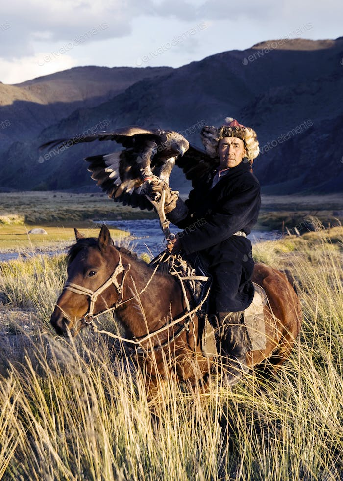 Kazakh on Horse With Eagle