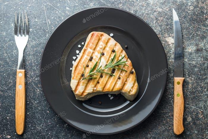 Grilled tuna steak.