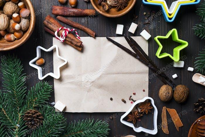 Ingredients for cooking Christmas gingerbread cookies