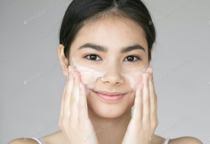 Soap face woman clean skin