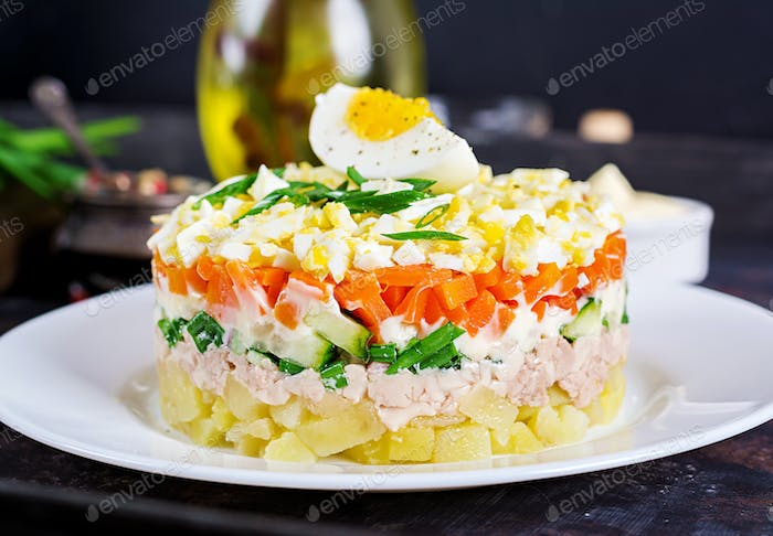 Salad of cod liver with eggs, cucumbers, potatoes, green onion  and carrot in a plate.