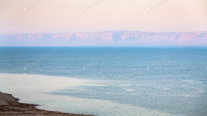 pink sunrise over Dead Sea in winter
