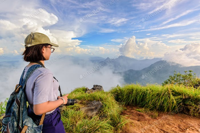 Tourist teen girl on Phu Chi Fa mountain