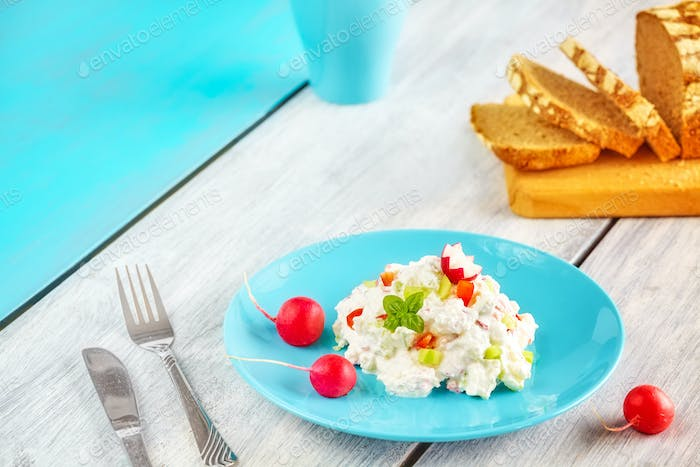 Homemade breakfast set with cottage cheese.