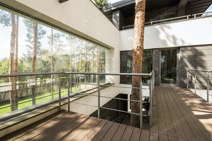 Big house in the forest with terrace