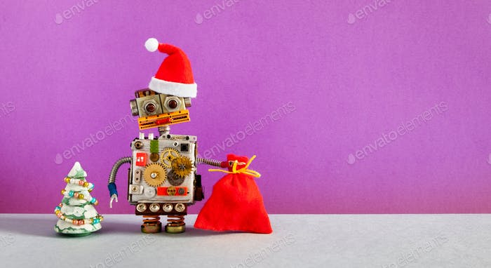 Robotic Santa Claus Christmas New year invitation poster background.