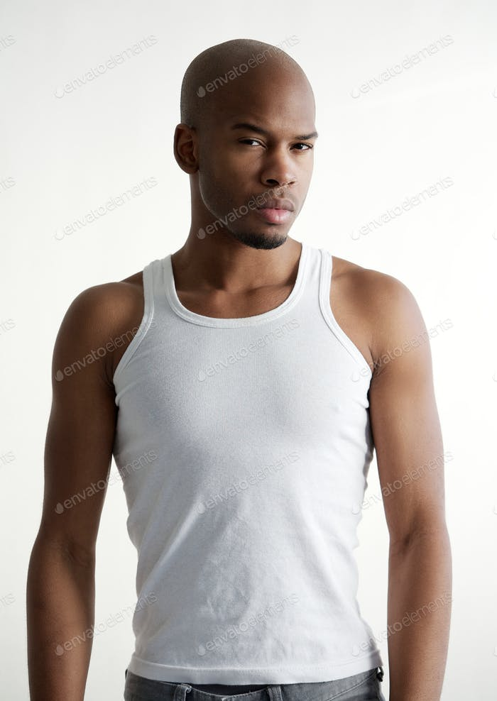 Masculine black male fashion model