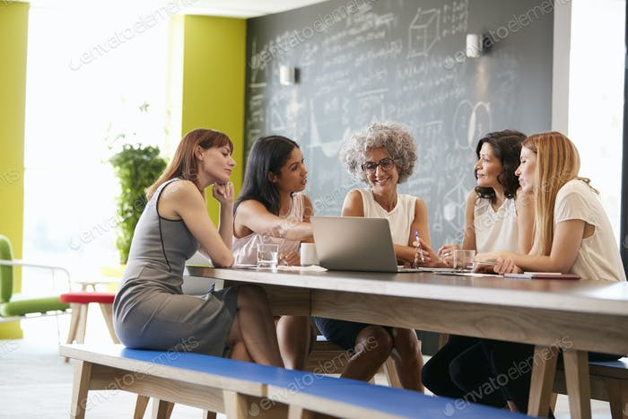 Female work colleagues using laptop in an informal meeting