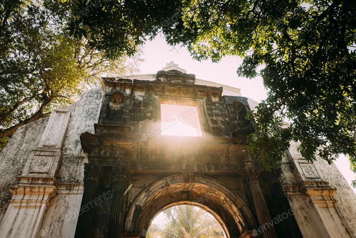 Old Goa, India. Old St. Paul's College Gate. Famous Landmark And Historical Heritage. St. Paul