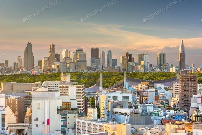 Tokio, Japan Skyline über Shibuya Ward mit dem Shinjuku Wa