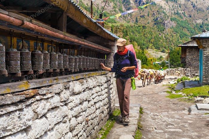 Beautiful Traveler Photo Woman Backpacker Mountains Landscape