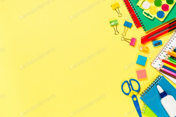 School and office sstationery on yellow background