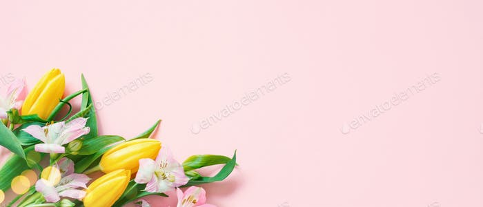 Pink Spring Festive Banner with Flowers