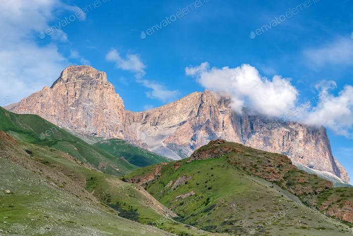View of beautiful mountains in northern caucasus on sunny day