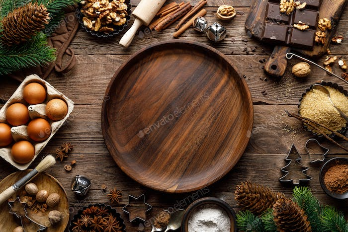 Christmas or new year culinary rustic wooden background