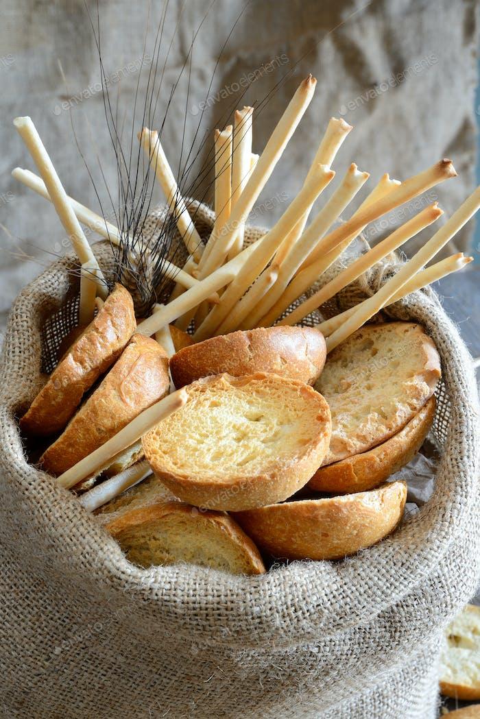 Freselle von Brot im Sack