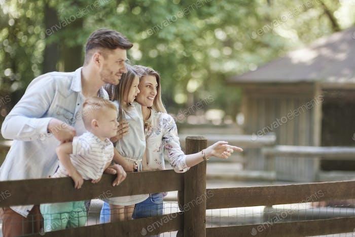 Glückliche Familie im Zoo