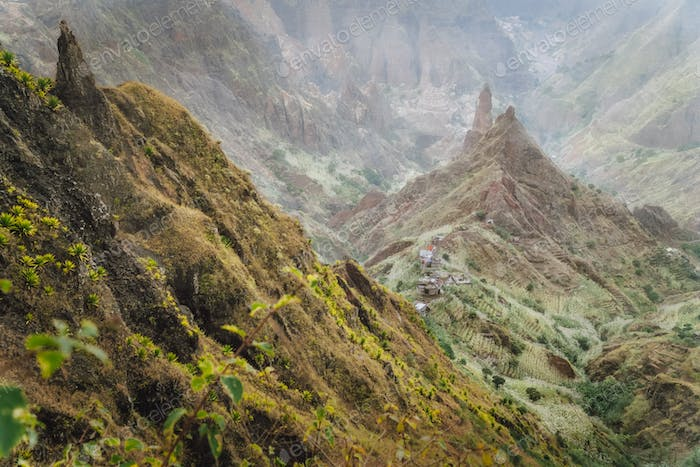 Mountain peaks in Xo-Xo valley of Santa Antao island at Cape Verde. Arid and erosion mountain peaks