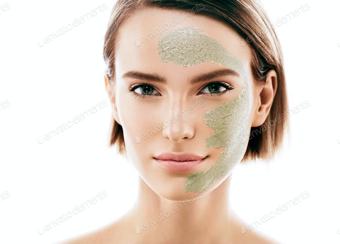 Woman with cosmetic scrab mask on face.