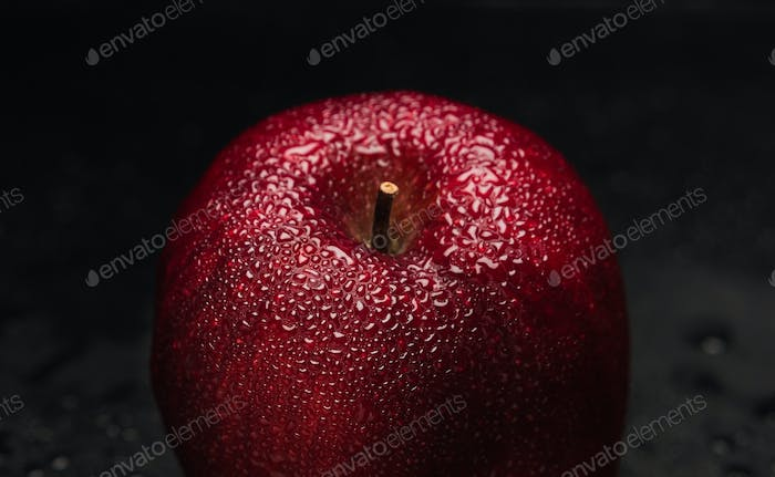 Drops on red apple