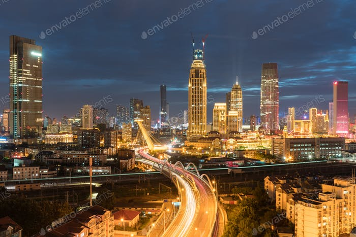 tianjin night scene, city road through the central business district, China