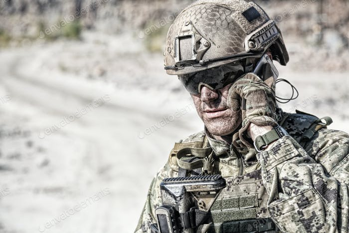 Army soldier calling